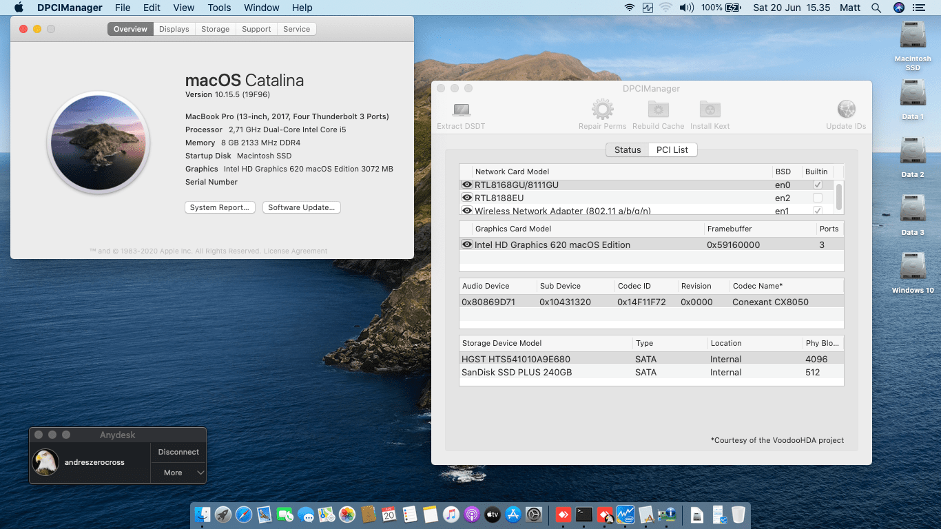 Success Hackintosh macOS Catalina 10.15.5 Build 19F96 in Asus A456UR-GA090D